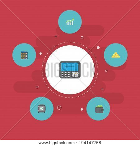 Flat Icons Accounting, Strongbox, Bar Diagram And Other Vector Elements. Set Of Finance Flat Icons Symbols Also Includes Billfold, Strongbox, Purse Objects.