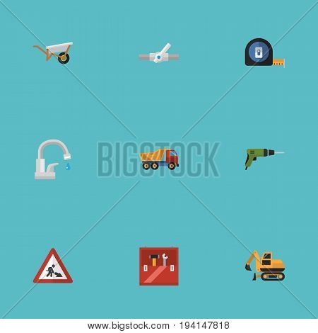Flat Icons Pipeline Valve, Caution, Handcart Vector Elements. Set Of Industry Flat Icons Symbols Also Includes Plumbing, Electric, Sign Objects.