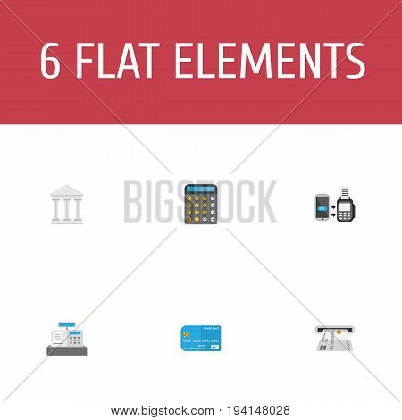 Flat Icons Teller Machine, Bank, Till And Other Vector Elements. Set Of Banking Flat Icons Symbols Also Includes Accounting, Courthouse, Register Objects.