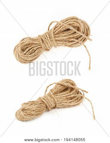Burlap Jute Twine Coil Skeins Isolated On White