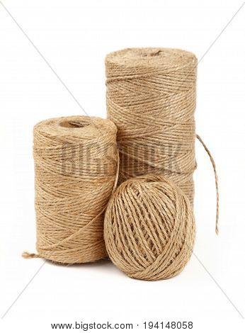 Burlap Jute Twine Coil Bobbins Isolated On White