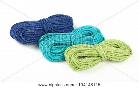 Three Jute Twine Coil Skeins Isolated On White