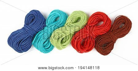 Range Of Jute Twine Coil Skeins Isolated On White