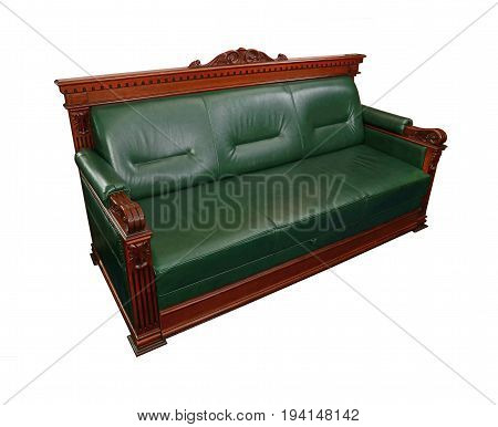 Green Leather Coach Sofa Isolated On White