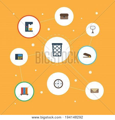 Flat Icons Bookshop, Trash Basket, Phone And Other Vector Elements. Set Of Workspace Flat Icons Symbols Also Includes Coffee, Clip, Bookcase Objects.