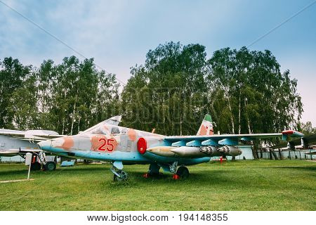 Minsk, Belarus - June 4, 2014: Russian Soviet Armoured Military Subsonic Attack Aircraft Fighter-bomber Stands At Aerodrome. Plane Designed To Provide Close Air Support For Troops In Fighting Day And Night In Any Weather Conditions