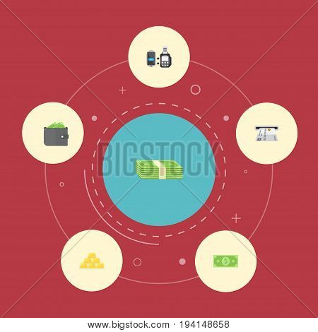 Flat Icons Cash Stack, Teller Machine, Billfold And Other Vector Elements. Set Of Banking Flat Icons Symbols Also Includes Gold, Purse, Bank Objects.