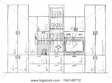 Hand drawn sketch. Linear sketch of the interior. Bookcase dresser with TV and shelves. Vector illustration
