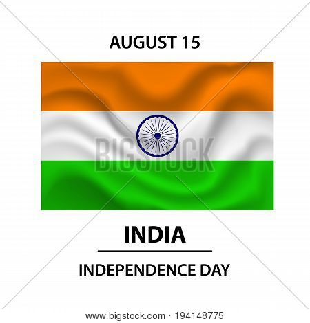 The Flag Of India. Official colors and proportion correctly. Vector flag of India developing in the wind. Indian Independence Day concept background with Ashoka wheel. Vector Illustration.