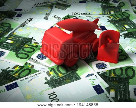 Radar And Missile System On The Euro Money. 3D Illustration.