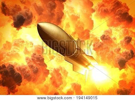 Missile Launch In The Clouds Of Fire. 3D Illustration.
