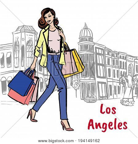 Woman with shopping bags on Rodeo Drive in Los Angeles. Hand-drawn illustration. Fashion sketch