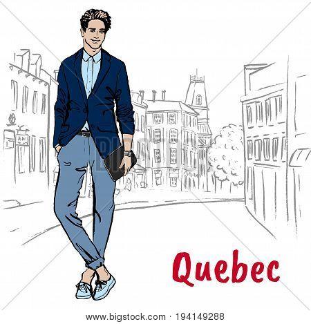 Man walking on St Jean Street in Quebec, Canada