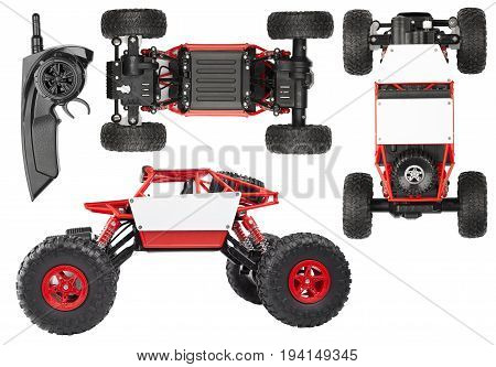 Radio controlled SUV for extreme red children's toy with electric drive view from three sides isolated on white