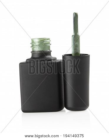 open black bottles with green nail polish