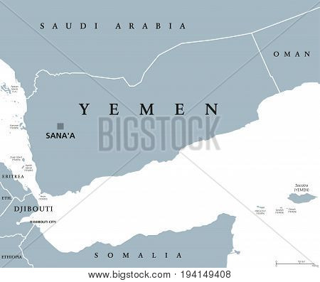 Yemen political map with capital Sanaa. Republic and Arab country in Western Asia and Middle East on the Arabian Peninsula. Gray illustration isolated on white background. English labeling. Vector.
