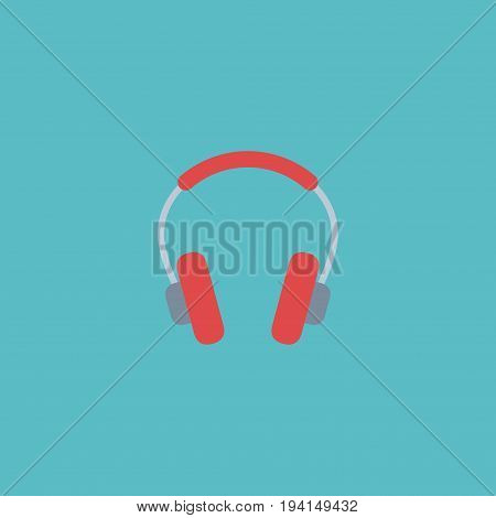 Flat Icon Headphones Element. Vector Illustration Of Flat Icon Earphone Isolated On Clean Background. Can Be Used As Headphones, Earphone And Headset Symbols.