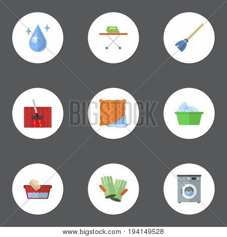 Flat Icons Aqua, Housekeeping, Clothes Washing And Other Vector Elements. Set Of Cleaning Flat Icons Symbols Also Includes Cloth, Laundry, Whisk Objects.