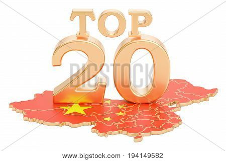 Chinese Top 20 concept 3D rendering isolated on white background