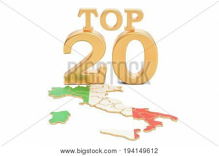 Italian Top 20 concept 3D rendering isolated on white background
