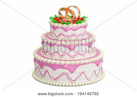 Wedding cake 3D rendering isolated on white background