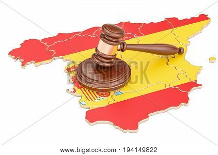 Wooden Gavel on map of Spain 3D rendering isolated on white background