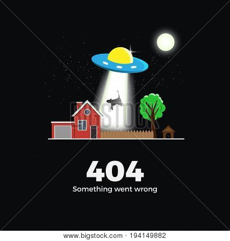 404 error vector concept illustration. Page not found message template. Realistic flat style. Alien UFO (flying saucer) abducts a cow with a beam near village house at night. Isolated on black.