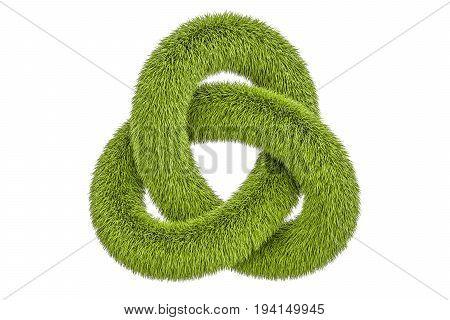 Grassy Trefoil Knot 3D rendering isolated on white background