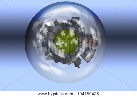 Sphere enclosed green city planet  3D Rendering