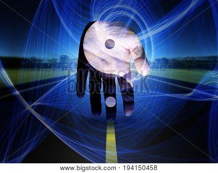 Yin Yang Hand  3D Rendering