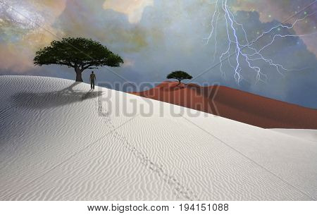 White desert. Lightning in the sky. Green trees. Figure of man in a distance.   Some elements image credit NASA