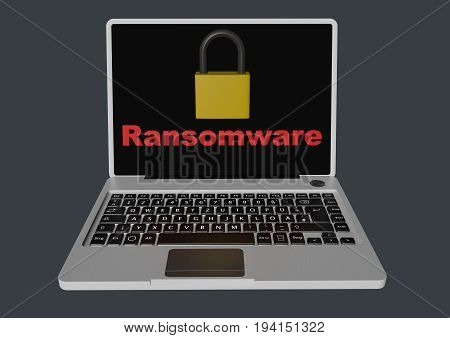 Ransomware text With padlock on laptop screen 3d Rendered Computer Generated Image