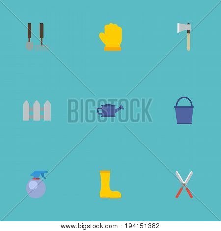 Flat Icons Fence, Rubber Boots, Tools And Other Vector Elements. Set Of Agriculture Flat Icons Symbols Also Includes Boots, Watering, Latex Objects.