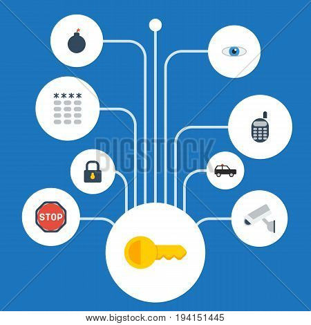 Flat Icons Padlock, Keypad, Armored Car And Other Vector Elements. Set Of Procuring Flat Icons Symbols Also Includes Suv, Security, Phone Objects.