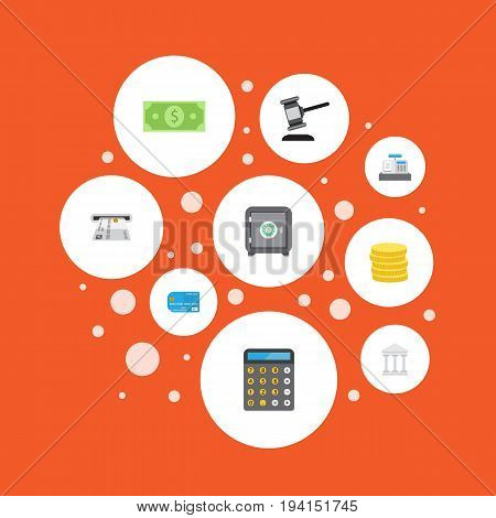 Flat Icons Money, Teller Machine, Small Change And Other Vector Elements. Set Of Banking Flat Icons Symbols Also Includes Payment, Strongbox, Machine Objects.