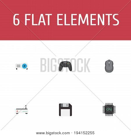 Flat Icons Presentation, Microprocessor, Computer Mouse And Other Vector Elements. Set Of PC Flat Icons Symbols Also Includes Cpu, Game, Mouse Objects.