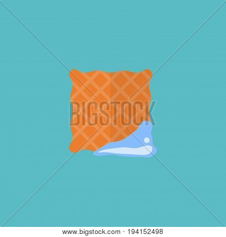 Flat Icon Clean Cloth Element. Vector Illustration Of Flat Icon Washcloth Isolated On Clean Background. Can Be Used As Washcloth, Clean And Cloth Symbols.