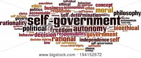 Self-government word cloud concept. Vector illustration on white