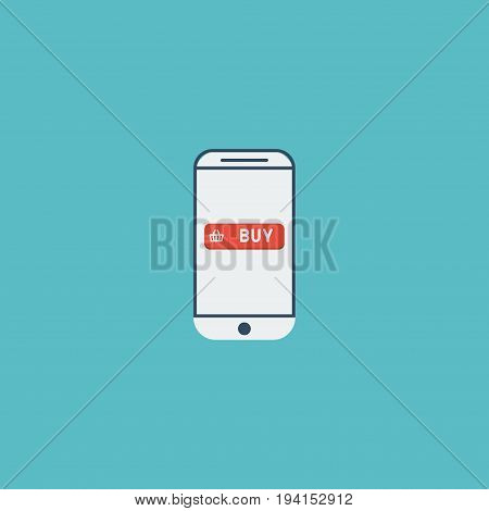 Flat Icon Mobile Element. Vector Illustration Of Flat Icon Purchase  Isolated On Clean Background. Can Be Used As Mobile, Purchase And Shopping Symbols.