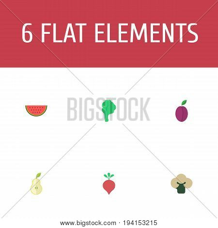 Flat Icons Radish, Duchess, Broccoli And Other Vector Elements. Set Of Berry Flat Icons Symbols Also Includes Watermelon, Cauliflower, Fruit Objects.