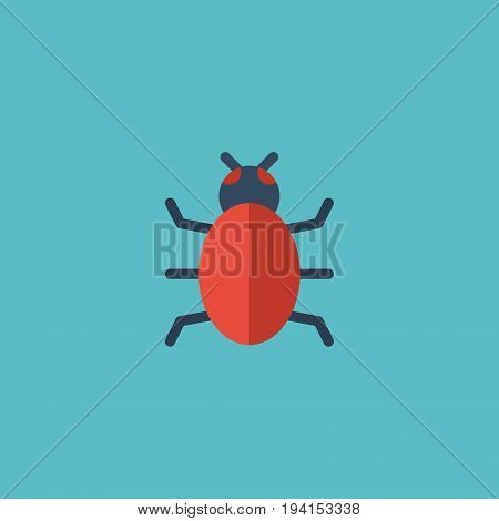 Flat Icon Bug Element. Vector Illustration Of Flat Icon Virus  Isolated On Clean Background. Can Be Used As Trojan, Virus And Bug Symbols.