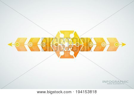 Vector infographic poster of gradient yellow shapes with text on the gradient gray background.