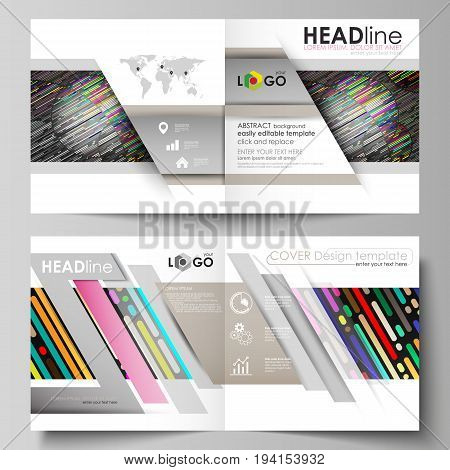 Business templates for square design bi fold brochure, magazine, flyer, booklet or annual report. Leaflet cover, abstract flat layout, easy editable vector. Colorful background made of stripes. Abstract tubes and dots. Glowing multicolored texture.