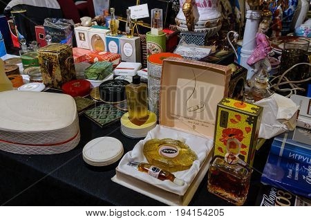 Moscow, Russia - March 19, 2017: Showcase with the popular women's perfumery of the mid-20th century, 1950-1980 in the original preserved packages for nostalgic customers. Perfume is a real antiques and a rare commodity.