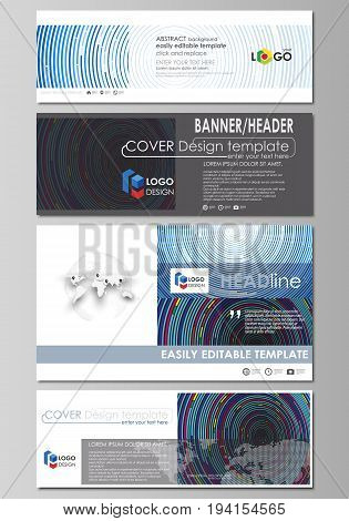 Social media and email headers set, modern banners. Business templates. Easy editable abstract design template, vector layouts in popular sizes. Blue color background in minimalist style made from colorful circles.