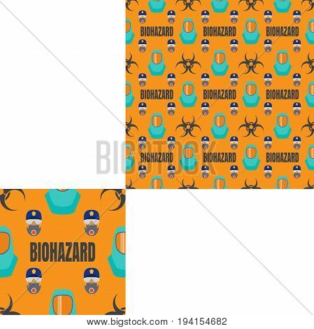 Seamless pattern of Rescue and fire with respiratory mask glasses police cap biohazard text and turquoise helmets on the yellow background with pattern unit.