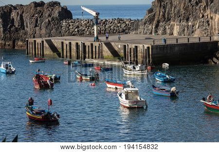 Fishing boats in Camara de Lobos Madeira Islands Portugal