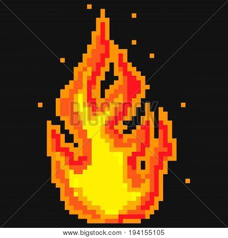 Pixel Art Fire Flames, Old School Computer Graphic Style, High Detailed, Hand Drawn Vector Illustration EPS 10