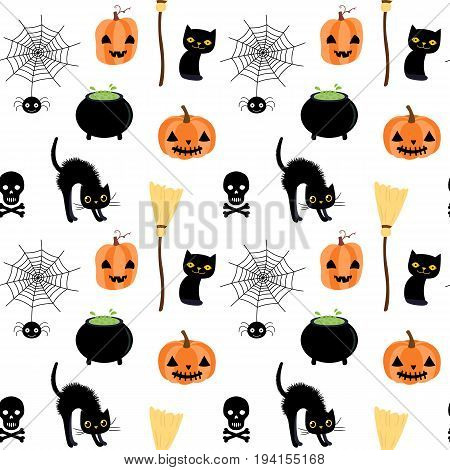 Vector seamless pattern for Halloween with spider skull and cats one white background