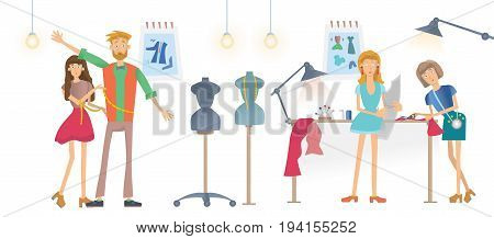 Fashion sewing Studio, Atelier. Young Women sew clothes. A man tries on clothes. Vector illustration, isolated on white background.